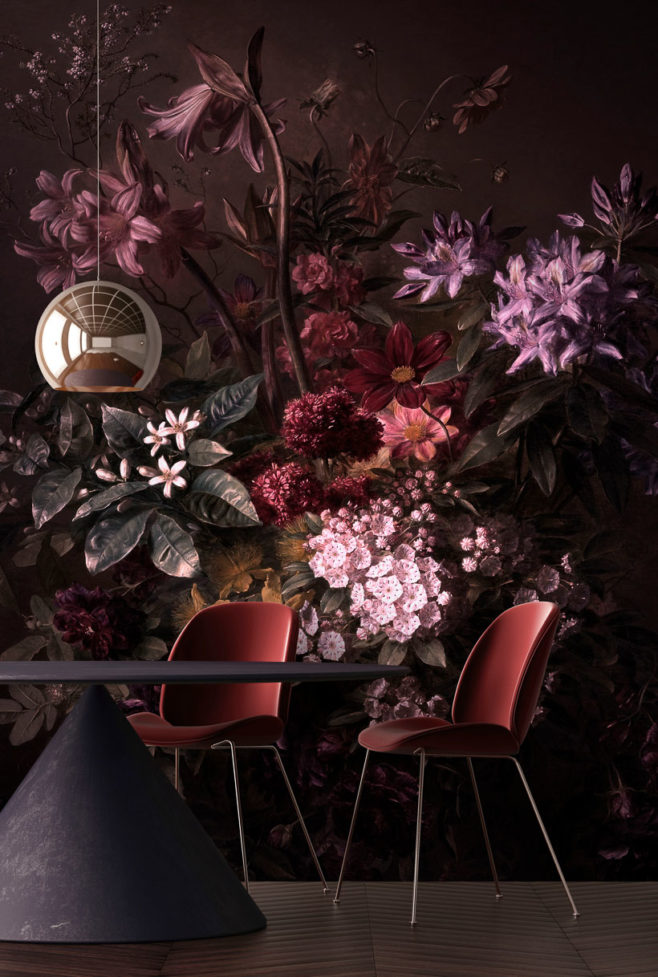 bouquet noir I, love blossom, IPHEPHA - Das perfekte Wandkleid, Tapeten Online-Shop
