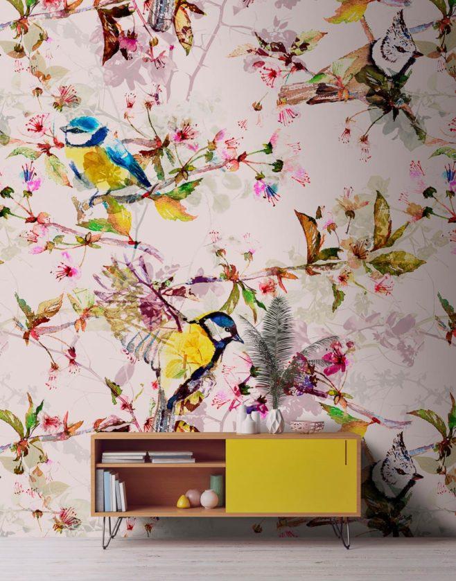 songbirds II, wild thoughts, IPHEPHA - Das perfekte Wandkleid, Tapeten Online-Shop